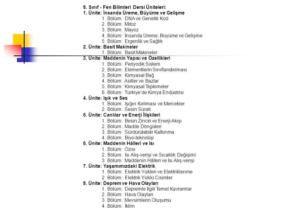 8. Sınıf - Fen Bilimleri Dersi Üniteleri: