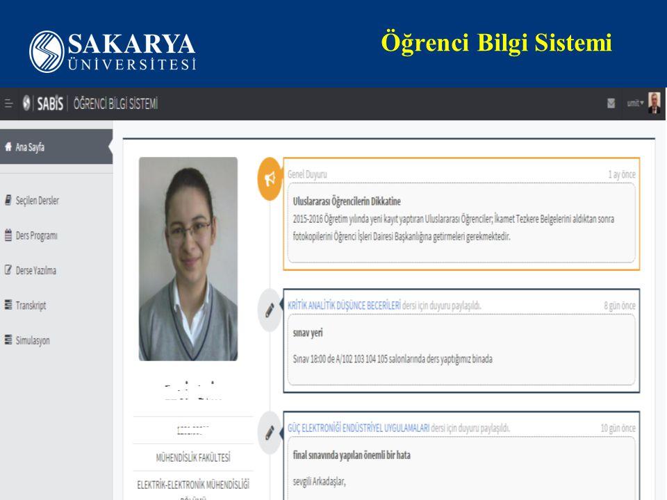 Öğrenci Bilgi Sistemi www.sakarya.edu.tr