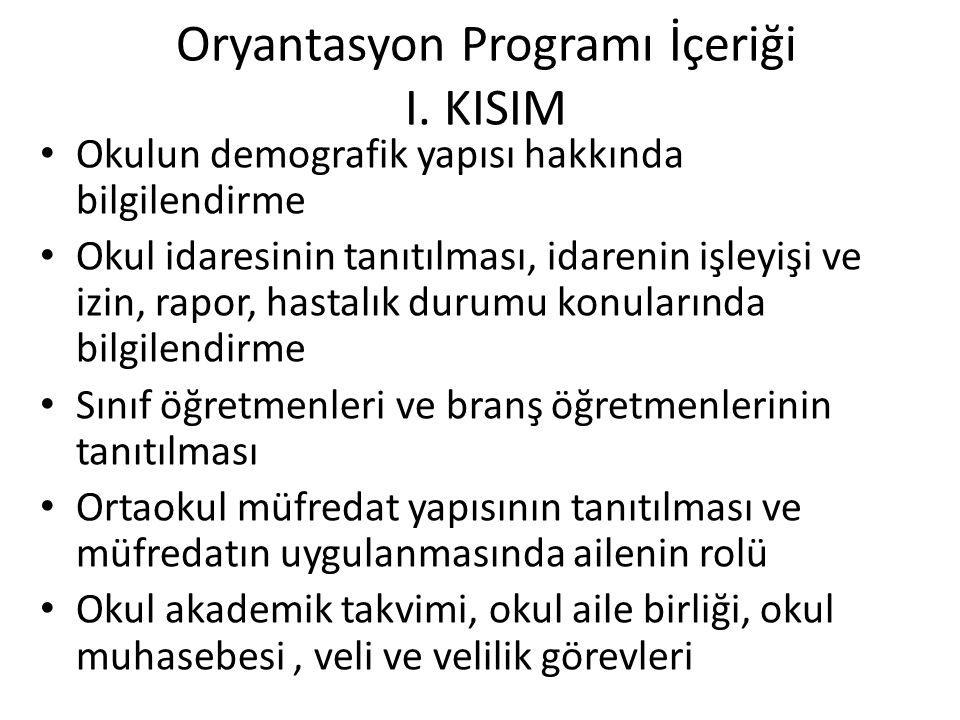 Oryantasyon Programı İçeriği I. KISIM