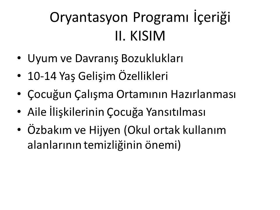 Oryantasyon Programı İçeriği II. KISIM