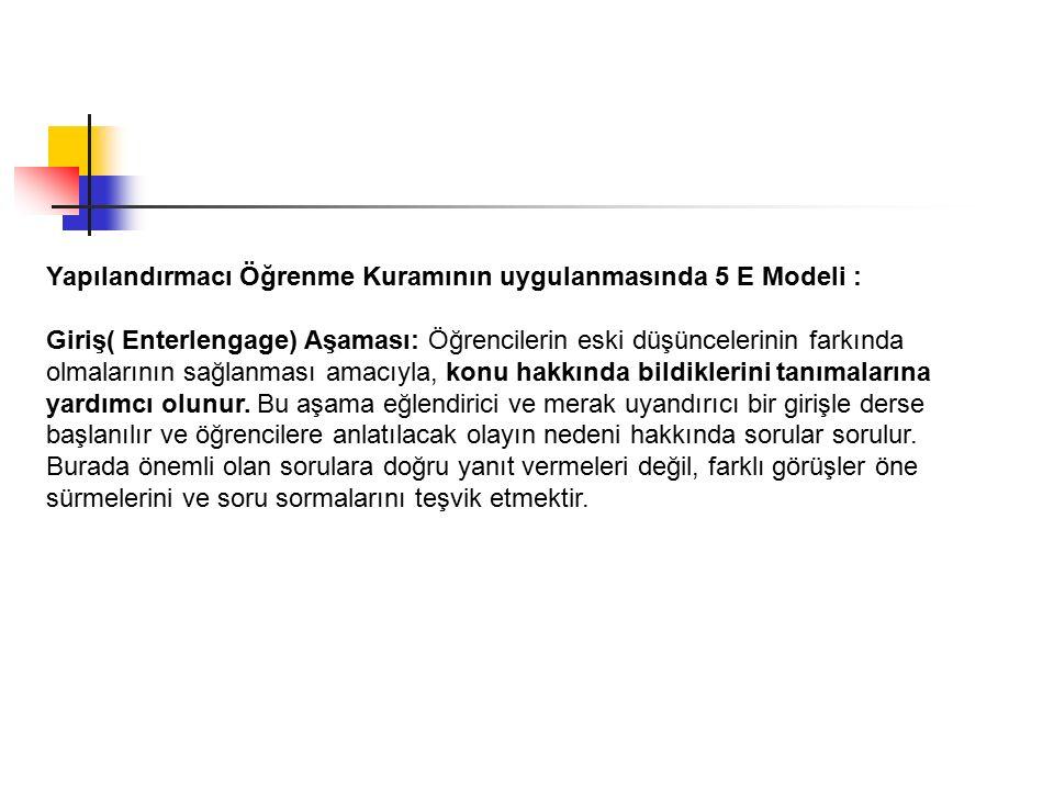 Yapılandırmacı Öğrenme Kuramının uygulanmasında 5 E Modeli :
