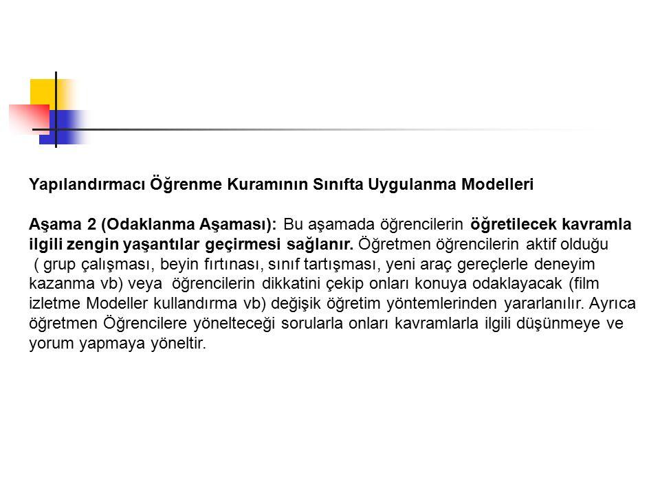 Yapılandırmacı Öğrenme Kuramının Sınıfta Uygulanma Modelleri