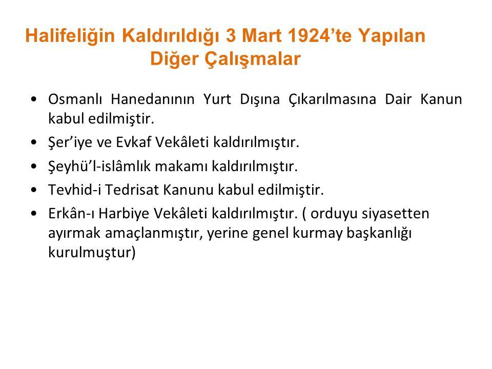 Halifeliğin Kaldırıldığı 3 Mart 1924'te Yapılan Diğer Çalışmalar