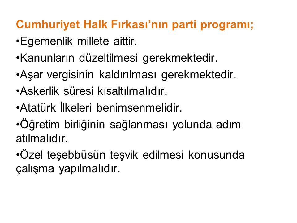 Cumhuriyet Halk Fırkası'nın parti programı;
