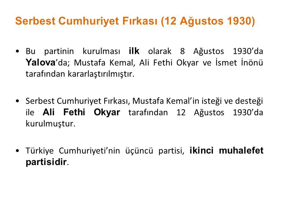 Serbest Cumhuriyet Fırkası (12 Ağustos 1930)
