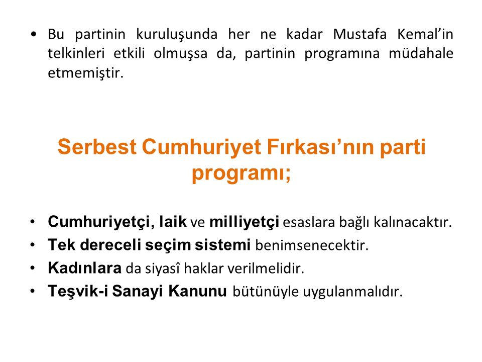 Serbest Cumhuriyet Fırkası'nın parti programı;