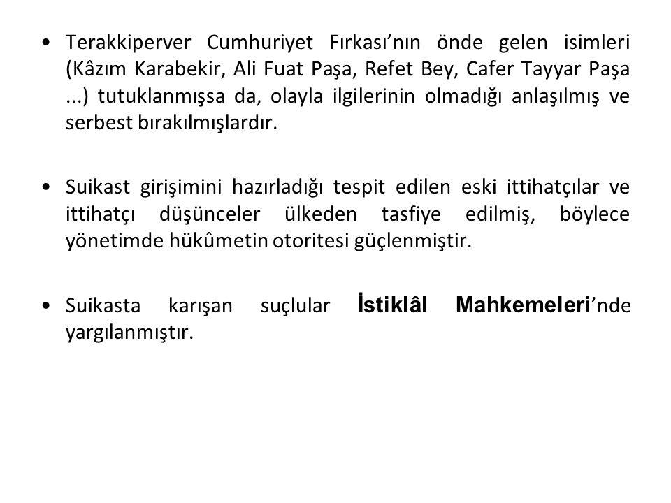 Terakkiperver Cumhuriyet Fırkası'nın önde gelen isimleri (Kâzım Karabekir, Ali Fuat Paşa, Refet Bey, Cafer Tayyar Paşa ...) tutuklanmışsa da, olayla ilgilerinin olmadığı anlaşılmış ve serbest bırakılmışlardır.