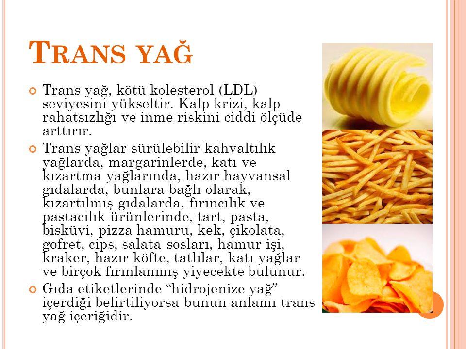 Trans yağ Trans yağ, kötü kolesterol (LDL) seviyesini yükseltir. Kalp krizi, kalp rahatsızlığı ve inme riskini ciddi ölçüde arttırır.