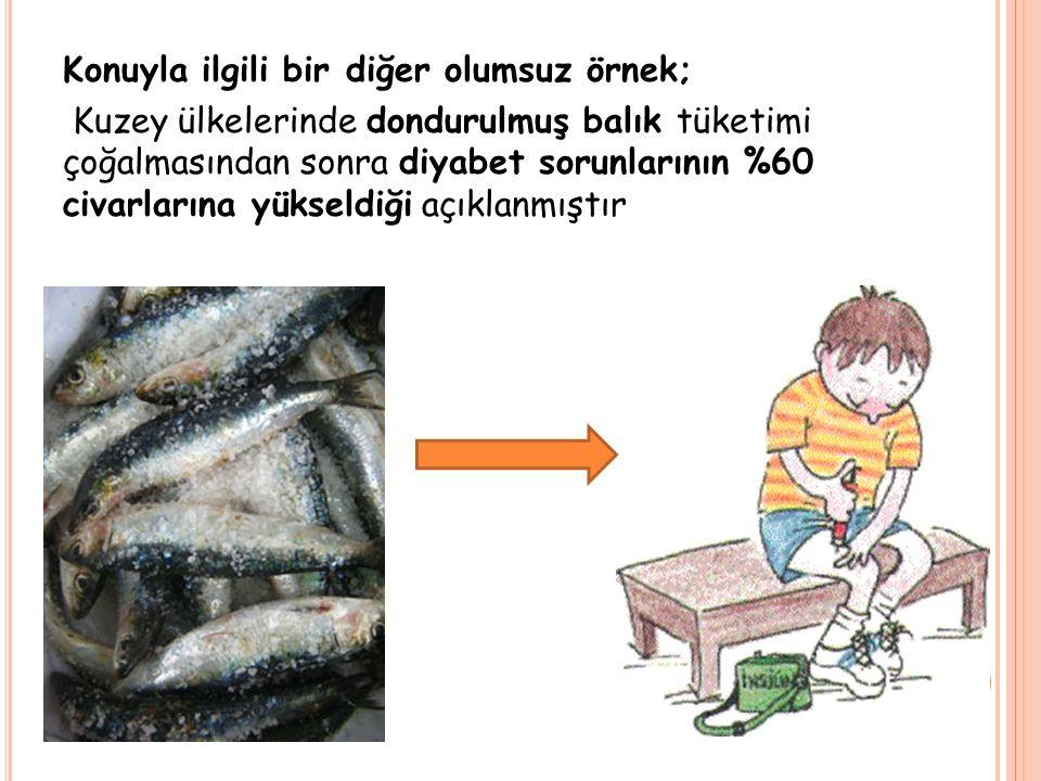 Konuyla ilgili bir diğer olumsuz örnek; Kuzey ülkelerinde dondurulmuş balık tüketimi çoğalmasından sonra diyabet sorunlarının %60 civarlarına yükseldiği açıklanmıştır