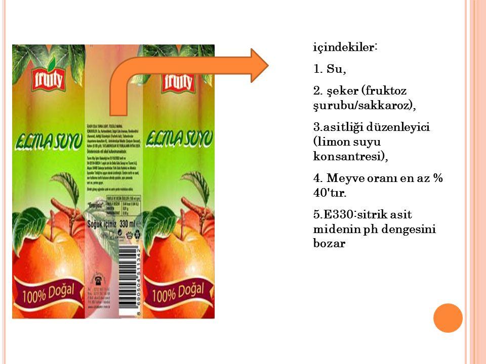 içindekiler: Su, şeker (fruktoz şurubu/sakkaroz), asitliği düzenleyici (limon suyu konsantresi), Meyve oranı en az % 40 tır.