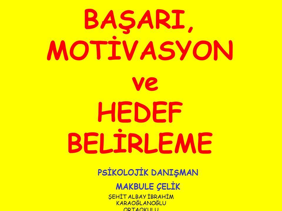 BAŞARI, MOTİVASYON ve HEDEF BELİRLEME