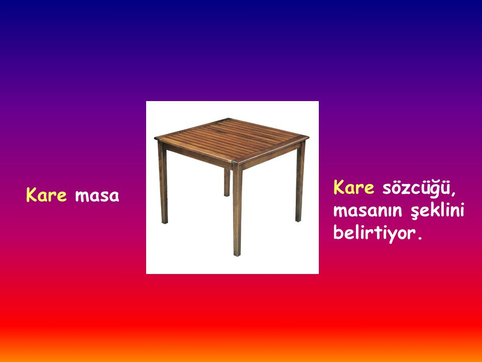 Kare sözcüğü, masanın şeklini belirtiyor. Kare masa