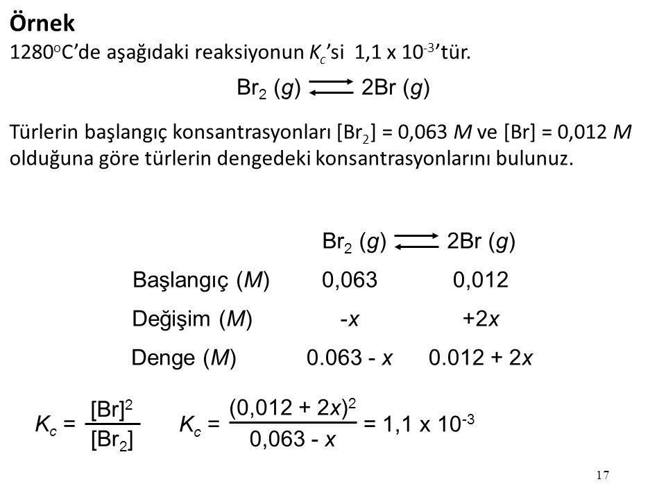 Örnek 1280oC'de aşağıdaki reaksiyonun Kc'si 1,1 x 10-3'tür.