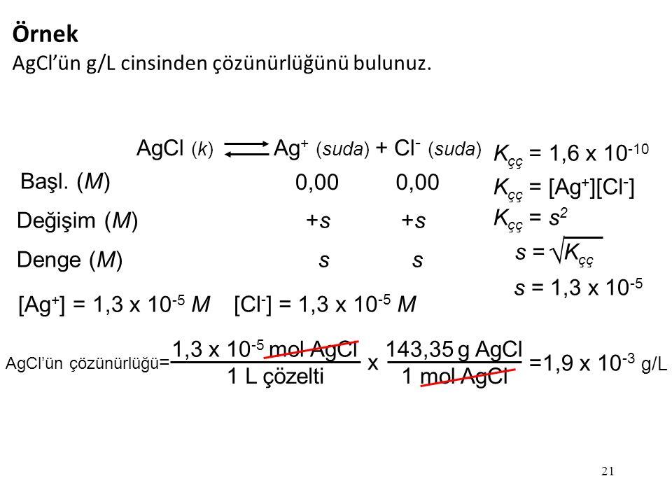  Örnek AgCl'ün g/L cinsinden çözünürlüğünü bulunuz.