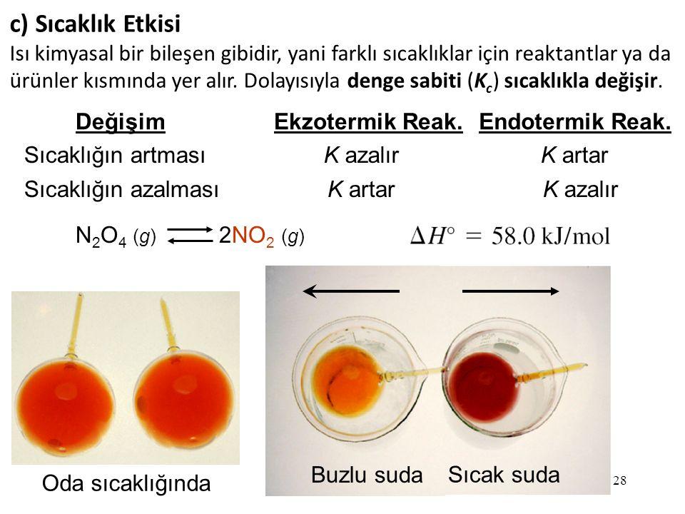 c) Sıcaklık Etkisi Isı kimyasal bir bileşen gibidir, yani farklı sıcaklıklar için reaktantlar ya da.