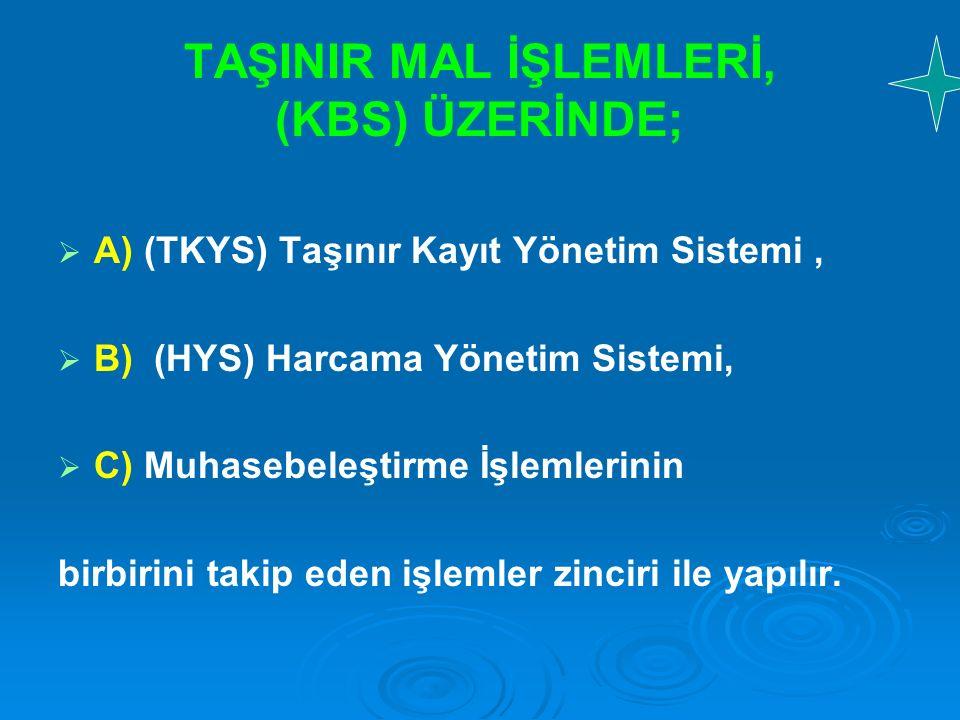 TAŞINIR MAL İŞLEMLERİ, (KBS) ÜZERİNDE;