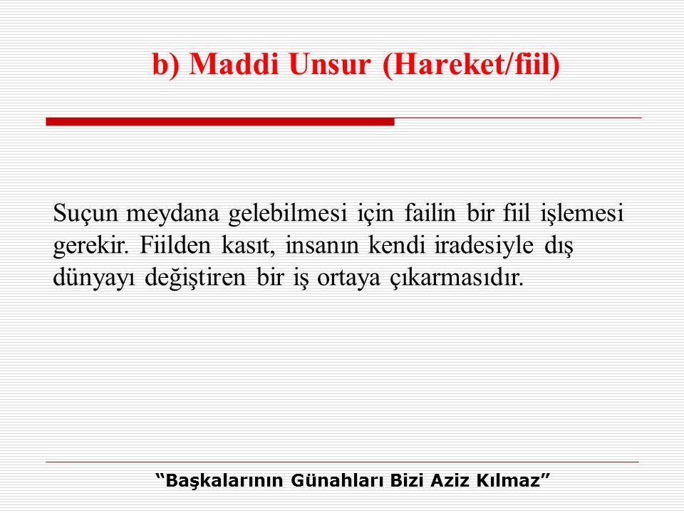b) Maddi Unsur (Hareket/fiil)
