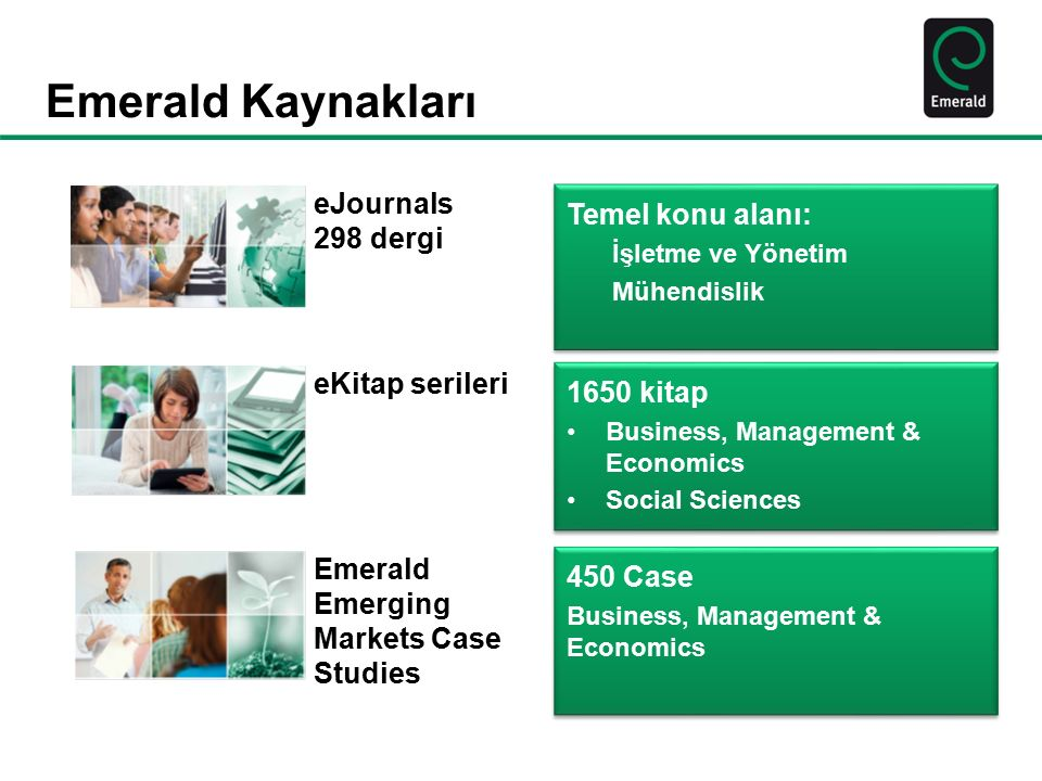 Emerald Kaynakları eJournals 298 dergi Temel konu alanı: