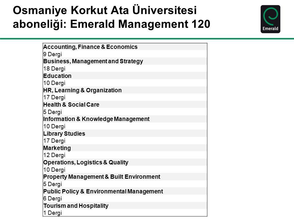 Osmaniye Korkut Ata Üniversitesi aboneliği: Emerald Management 120