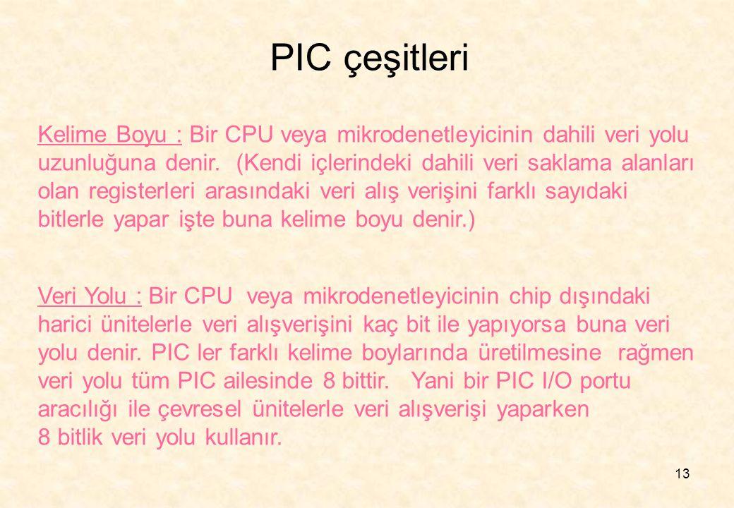 PIC çeşitleri