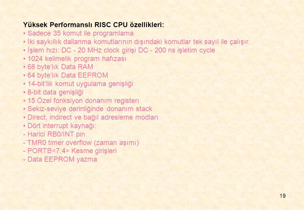 Yüksek Performanslı RISC CPU özellikleri: