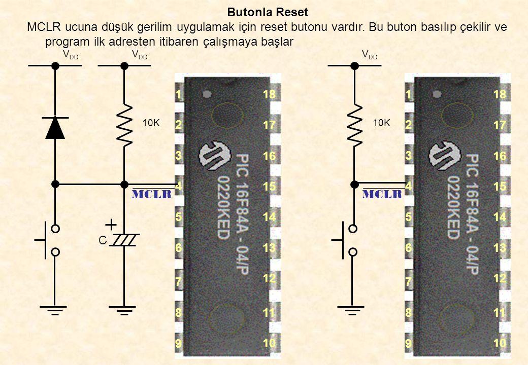 Butonla Reset MCLR ucuna düşük gerilim uygulamak için reset butonu vardır. Bu buton basılıp çekilir ve program ilk adresten itibaren çalışmaya başlar.