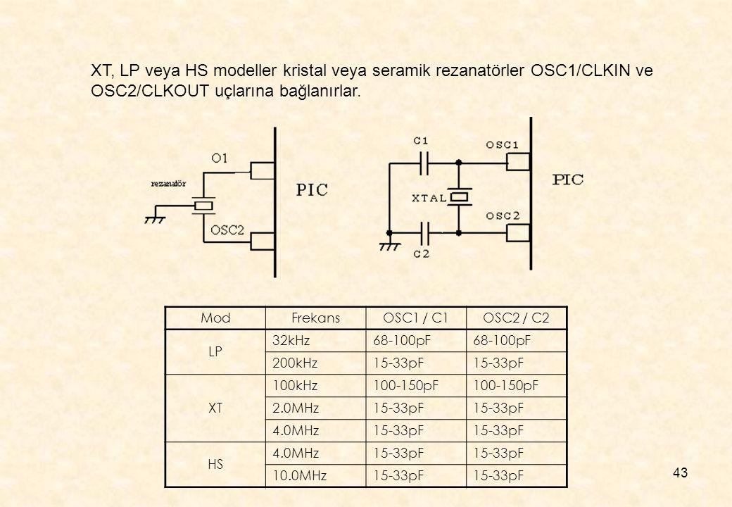 XT, LP veya HS modeller kristal veya seramik rezanatörler OSC1/CLKIN ve OSC2/CLKOUT uçlarına bağlanırlar.
