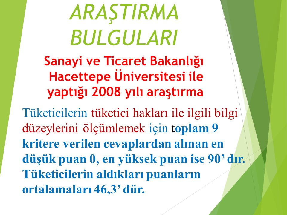 ARAŞTIRMA BULGULARI Sanayi ve Ticaret Bakanlığı Hacettepe Üniversitesi ile yaptığı 2008 yılı araştırma.