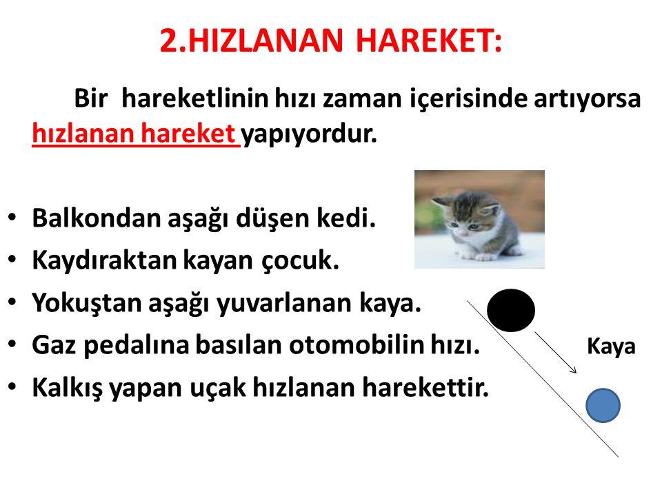 2.HIZLANAN HAREKET: Bir hareketlinin hızı zaman içerisinde artıyorsa hızlanan hareket yapıyordur. Balkondan aşağı düşen kedi.
