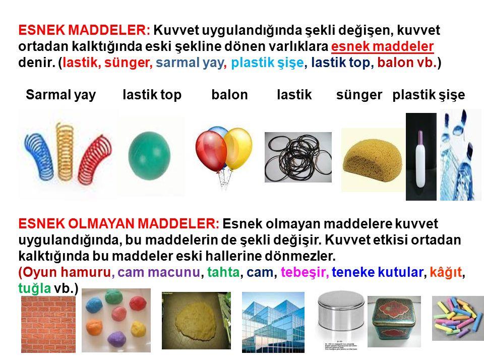 ESNEK MADDELER: Kuvvet uygulandığında şekli değişen, kuvvet ortadan kalktığında eski şekline dönen varlıklara esnek maddeler denir. (lastik, sünger, sarmal yay, plastik şişe, lastik top, balon vb.)