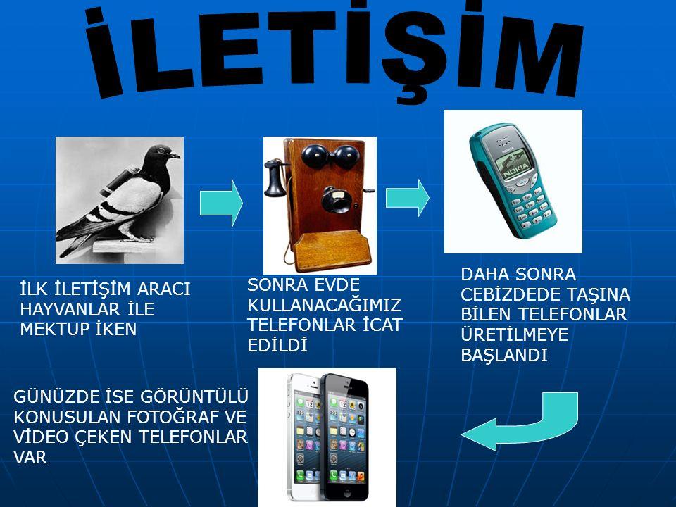 İLETİŞİM DAHA SONRA CEBİZDEDE TAŞINA BİLEN TELEFONLAR ÜRETİLMEYE BAŞLANDI. SONRA EVDE KULLANACAĞIMIZ TELEFONLAR İCAT EDİLDİ.