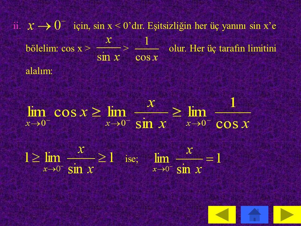 ii. için, sin x < 0'dır. Eşitsizliğin her üç yanını sin x'e. bölelim: cos x > > olur. Her üç tarafın limitini.