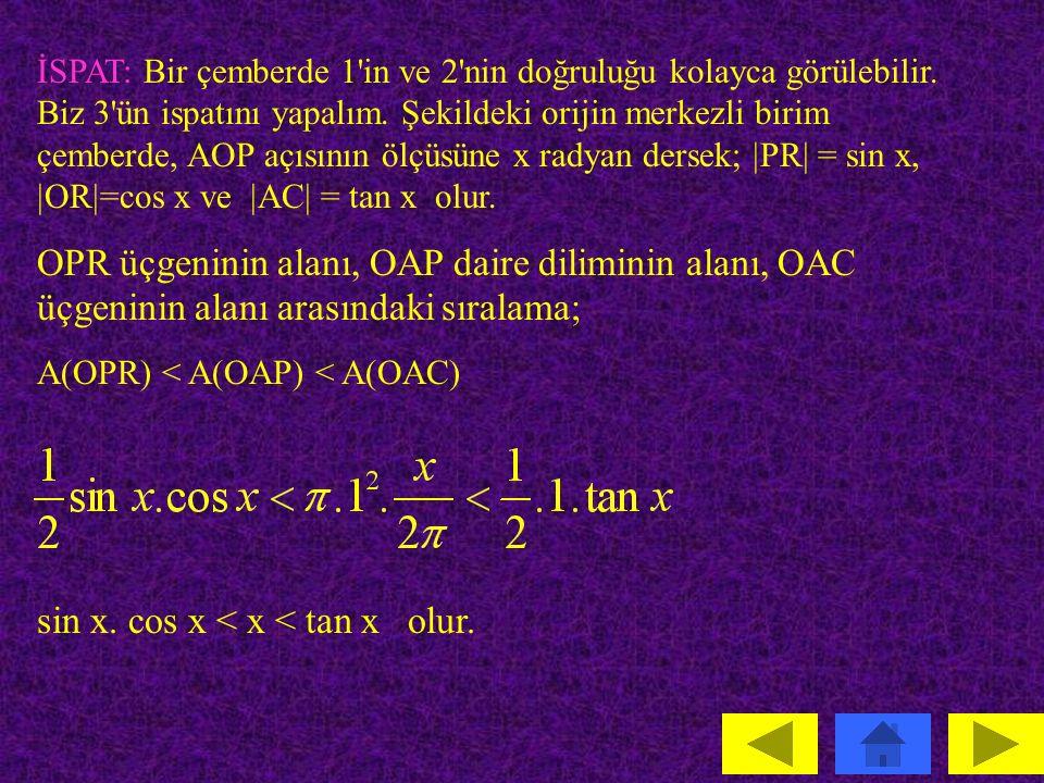 sin x. cos x < x < tan x olur.