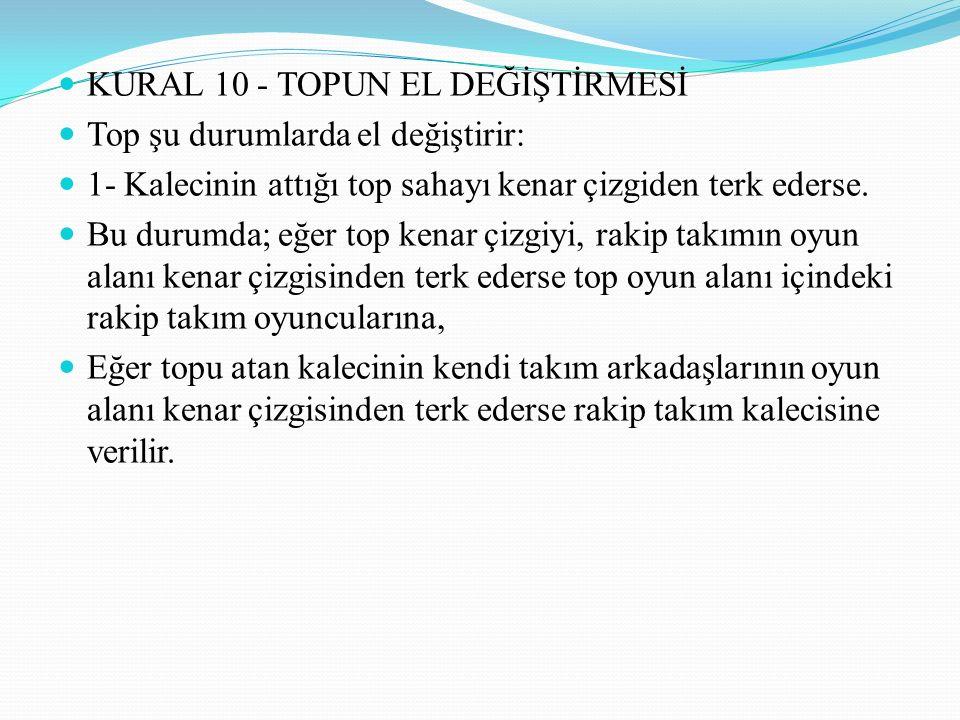 KURAL 10 - TOPUN EL DEĞİŞTİRMESİ