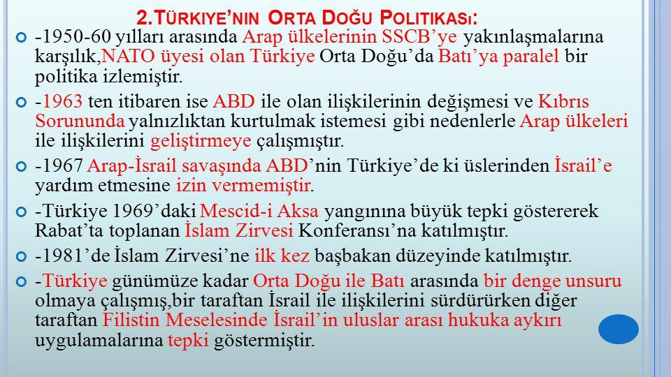 2.Türkiye'nin Orta Doğu Politikası: