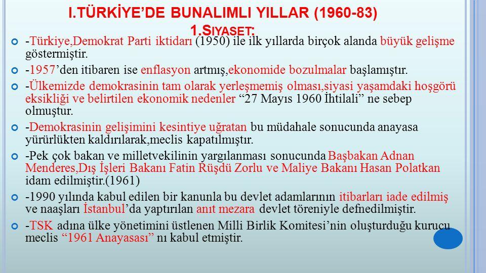 I.TÜRKİYE'DE BUNALIMLI YILLAR (1960-83) 1.Siyaset: