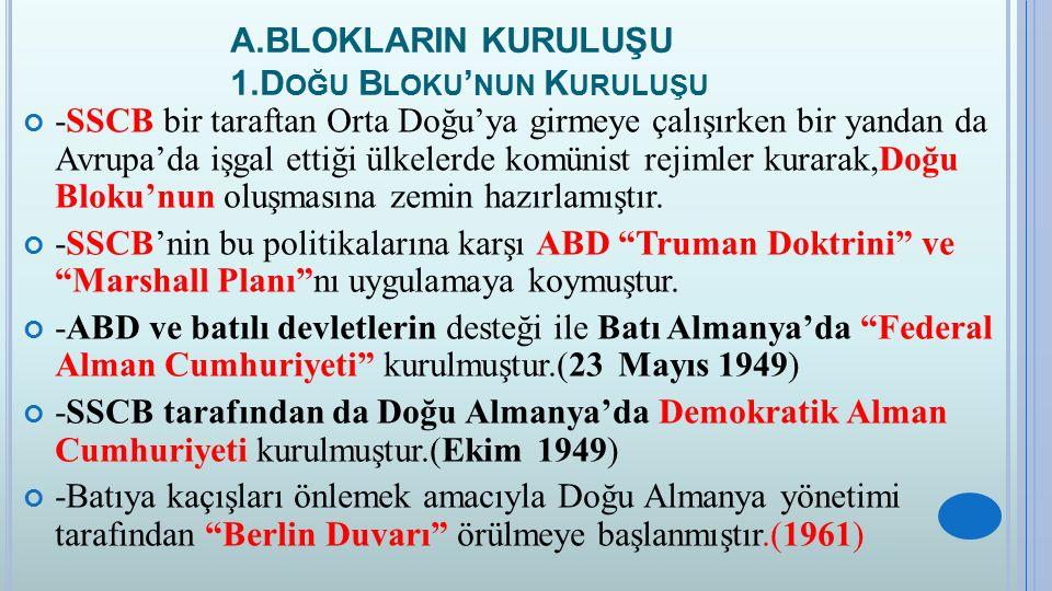 A.BLOKLARIN KURULUŞU 1.Doğu Bloku'nun Kuruluşu