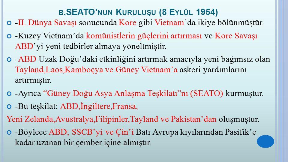 b.SEATO'nun Kuruluşu (8 Eylül 1954)