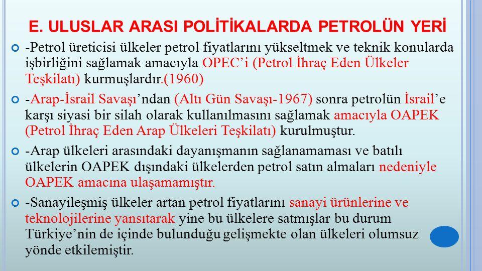 E. ULUSLAR ARASI POLİTİKALARDA PETROLÜN YERİ