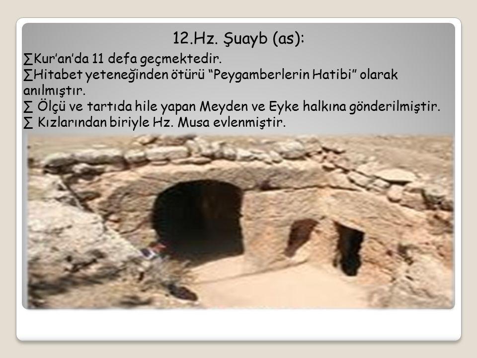 12.Hz. Şuayb (as): Kur'an'da 11 defa geçmektedir.