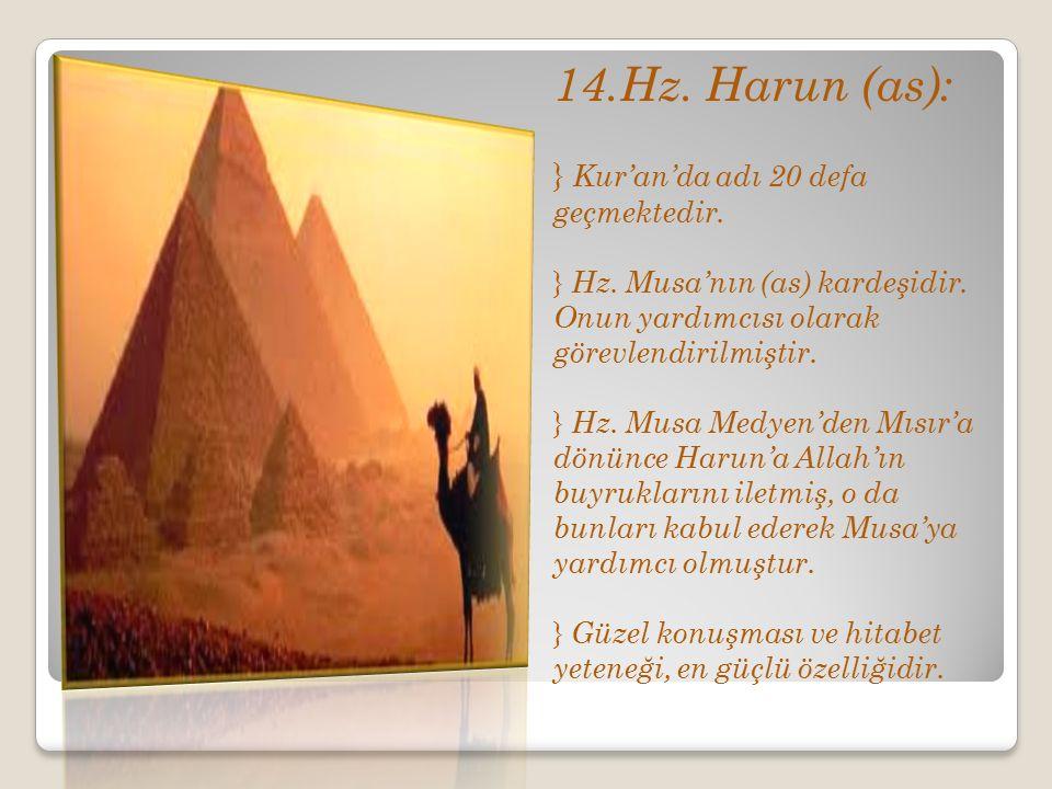14.Hz. Harun (as): Kur'an'da adı 20 defa geçmektedir.