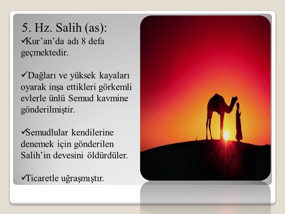 5. Hz. Salih (as): Kur'an'da adı 8 defa geçmektedir.