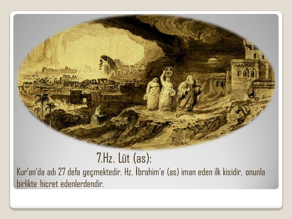 7.Hz. Lût (as): Kur'an'da adı 27 defa geçmektedir.