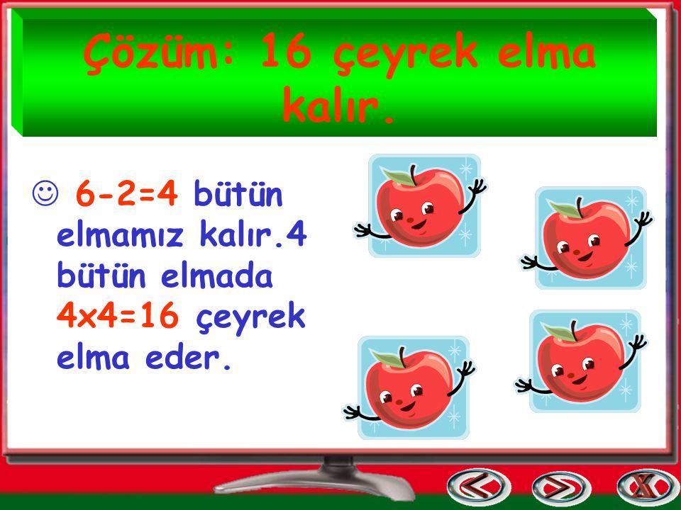 Çözüm: 16 çeyrek elma kalır.