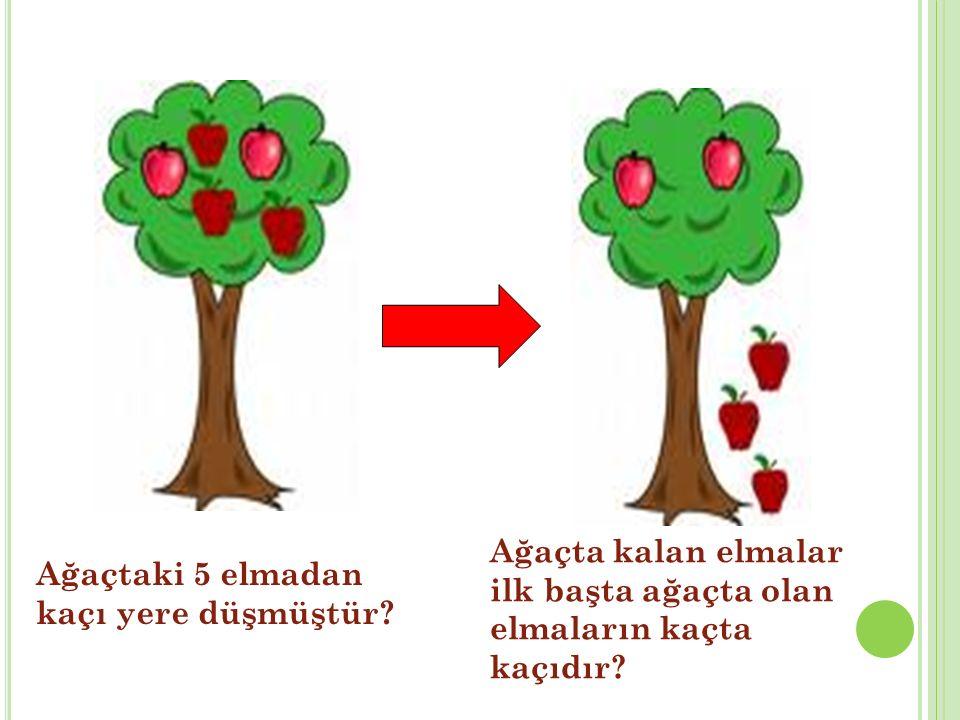 Ağaçtaki 5 elmadan kaçı yere düşmüştür