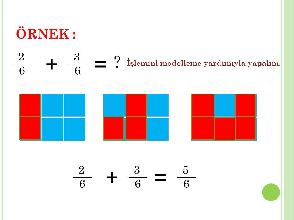 ÖRNEK : 2 6 + 3 = İşlemini modelleme yardımıyla yapalım. 2 6 + 3 = 5