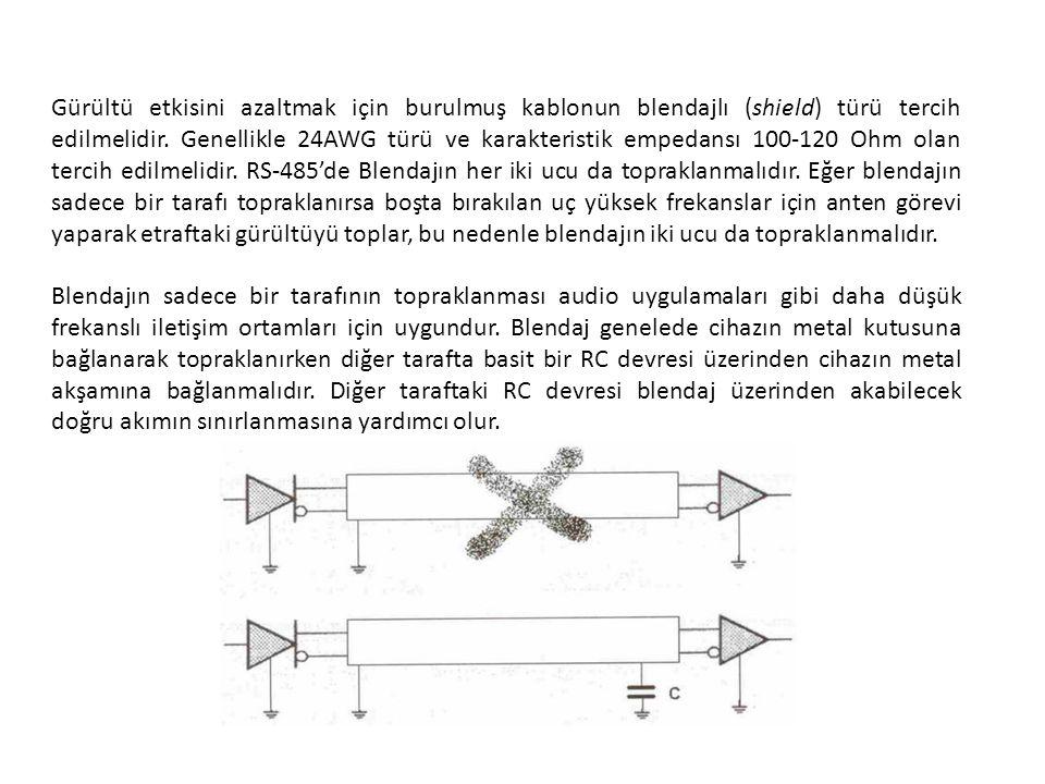 Gürültü etkisini azaltmak için burulmuş kablonun blendajlı (shield) türü tercih edilmelidir. Genellikle 24AWG türü ve karakteristik empedansı 100-120 Ohm olan tercih edilmelidir. RS-485'de Blendajın her iki ucu da topraklanmalıdır. Eğer blendajın sadece bir tarafı topraklanırsa boşta bırakılan uç yüksek frekanslar için anten görevi yaparak etraftaki gürültüyü toplar, bu nedenle blendajın iki ucu da topraklanmalıdır.