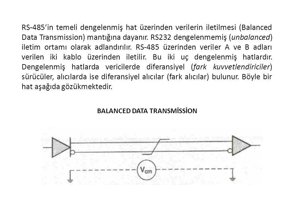 RS-485'in temeli dengelenmiş hat üzerinden verilerin iletilmesi (Balanced Data Transmission) mantığına dayanır. RS232 dengelenmemiş (unbalanced) iletim ortamı olarak adlandırılır. RS-485 üzerinden veriler A ve B adları verilen iki kablo üzerinden iletilir. Bu iki uç dengelenmiş hatlardır. Dengelenmiş hatlarda vericilerde diferansiyel (fark kuvvetlendiriciler) sürücüler, alıcılarda ise diferansiyel alıcılar (fark alıcılar) bulunur. Böyle bir hat aşağıda gözükmektedir.