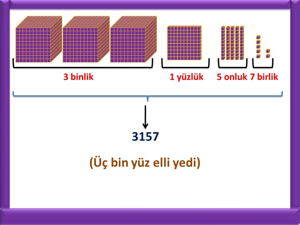 3 binlik 1 yüzlük 5 onluk 7 birlik 3157 (Üç bin yüz elli yedi)