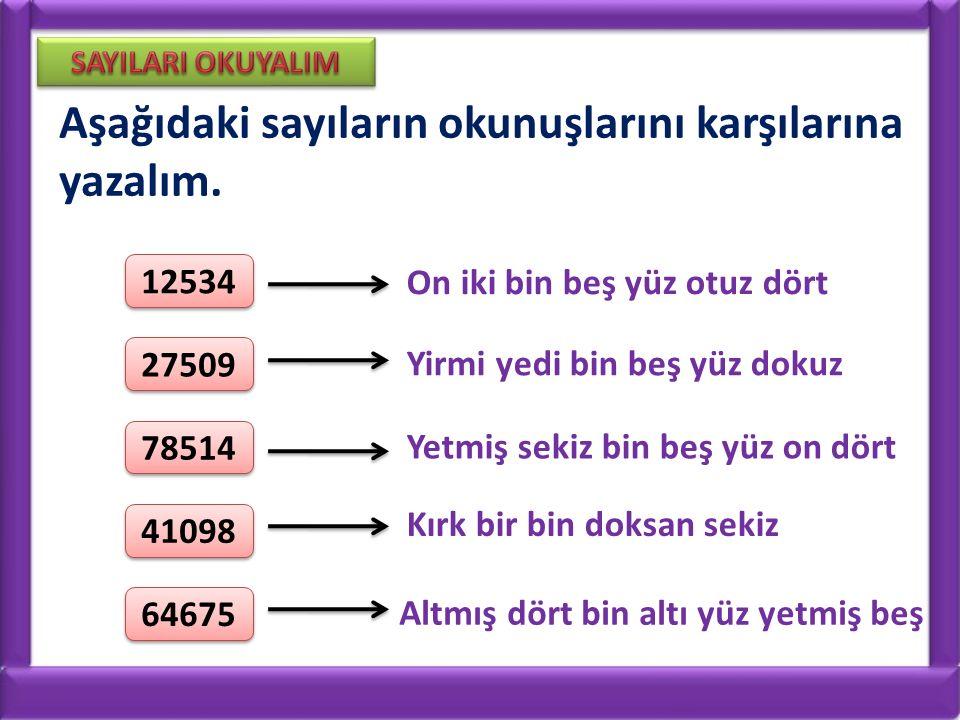 Aşağıdaki sayıların okunuşlarını karşılarına yazalım.